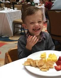 Enjoying his breakfast!
