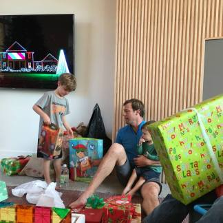 Opening gifts