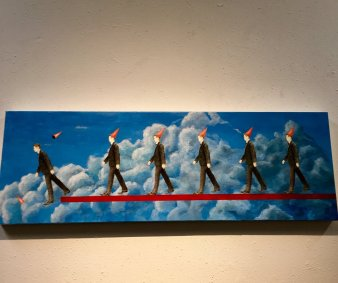 """""""Lemmings following the leader."""" I thought it was appropriate. On display at the art gallery at our polling place."""