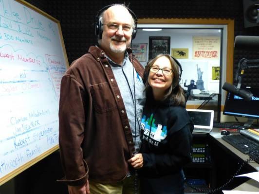 DJ-ing at KUCB, Unalaska, for a fundraiser