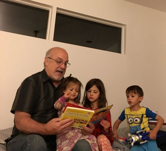 Reading bedtime stories to Ada, Emery and Luke
