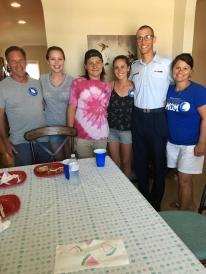 Cousin Tim, his daughter Veronica, son Trevor, Aaron's girlfriend Jamie, Aaron, Tim's wife Brandi