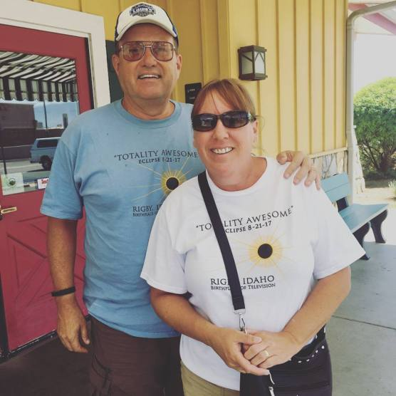 Martin and Linda with their eclipse shirts