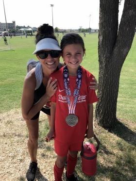 Elle and Sarah after soccer tourney