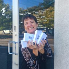Kathi w DNA boxes