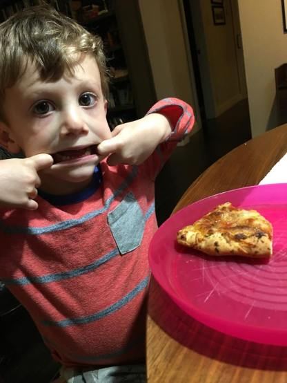 Pizza and funny faces