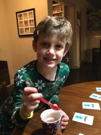 "Hot chocolate and a game of ""In a Pickle,"" one of Beck's faves"