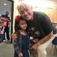 Ada with her preschool teacher